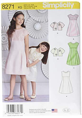 Simplicity Muster 8271K5Kinder und Mädchen Kleid und Jacke Schnittmuster, weiß, Größen 7–8–10–12–14