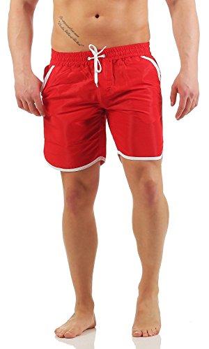 Mivaro Herren Badehose ohne Innenslip mit tiefen Taschen und schnell trocknend | Badeshorts ohne Netz, Farbe:Rot, Größe:XXL