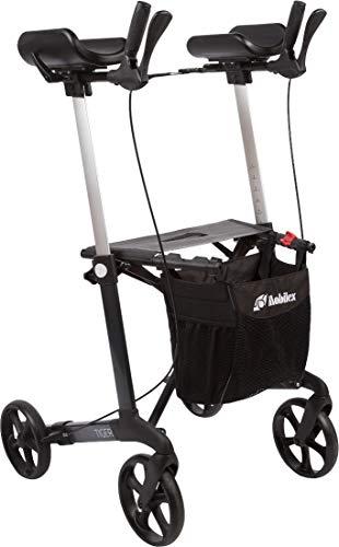 FabaCare Arthritis Rollator Set Tiger mit Softrädern Aluminium, faltbarer Alurollator, gepolsterte Armauflagen, höhenverstellbarer Arthritsrollator, mit Tasche, Anthrazit