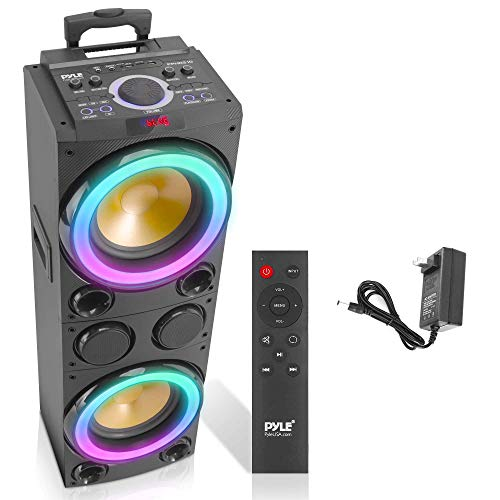 Portable Bluetooth PA Speaker System - 1200W Outdoor Bluetooth Speaker Portable PA System w/Microphone in, Party Lights, USB SD Card Reader, FM Radio, Rolling Wheels - Remote Control - Pyle PPHD210