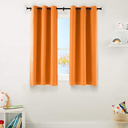"Amazon Basics Kids Room Darkening Blackout Window Curtain Set with Grommets - 42"" x 63"", Bright Orange"