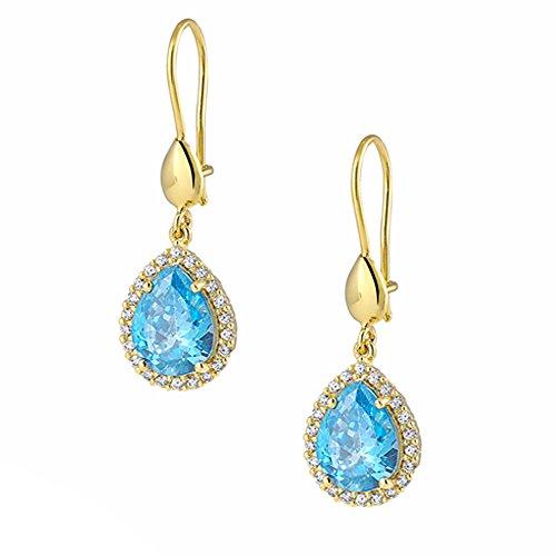 aion Ohrhänger - Ohrringe aus Gold 585 Gelbgold 14K mit Tropfen Synt.Aquamarin weiße Zirkonia