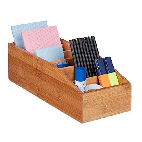 Relaxdays Aufbewahrungsbox Bambus, 6 Fächer, Universal Ordnungsbox für Büro, Bad, Küche, HxBxT: 10 x 14 x 35 cm, Natur