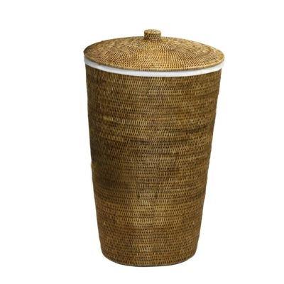 Basket Wäschebehälter Rattan braun mit Leinensack