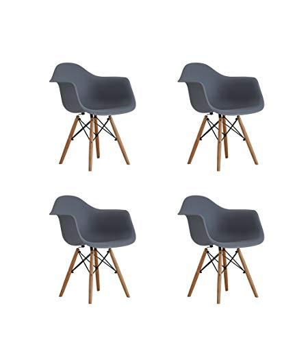 00 schienale nordico con braccioli sedia in plastica, stile creativo moderno e minimalista personalità Art bacino sedia sedia da pranzo bar, set di 4 (colore: grigio)