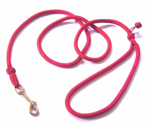 DOGS and MORE - Hochwertige MeRuBu Seil-Leine/Tauleine/Führleine mit Messingkarabiner und Klabautermann in Rot, Grün, Schwarz, Orange, Blau oder Lila (1,5 m lang; 8 mm) (Rot)