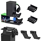 Cooling Stand and Controller Holder & Dust Filter Cover Set for Xbox Series X, YUANHOT Vertical Stand with Cooling Fan, 1400mAh Rechargeable Battery Pack, Dual Controller Charger Ports