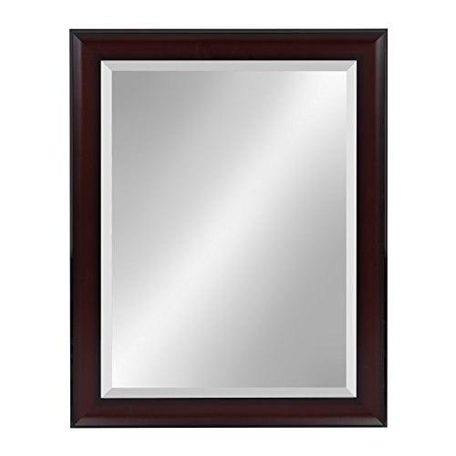 Kate and Laurel Scoop Framed Beveled Wall Mirror Cherry 22x28 -