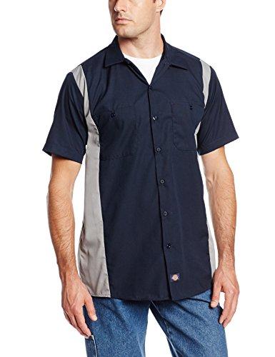 Dickies Occupational Workwear LS524DNSM 5XL Polyester/Cotton Men's Short Sleeve Industrial Color Block Shirt, 5X-Large, Dark Navy/Smoke