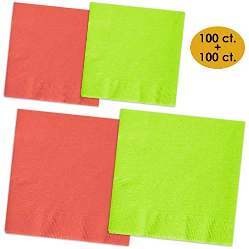 Best Buy! 200 Napkins - Coral & Lime Green - 100 Beverage Napkins + 100 Luncheon Napkins, 2-Ply, 50 ...