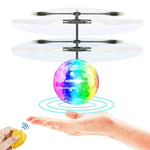 YF-TOW Flying Ball Toys RC Infrared Induction Toy Rechargeable RGB Disco Light Helicopter Shining Colorful Flying Drone for Kids Boys Girls Gifts Indoor and Outdoor Games