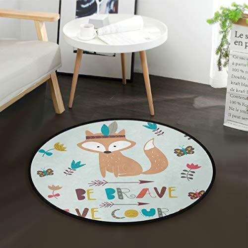 Mnsruu Tapis rond antidérapant et confortable avec renard indien avec flèches - Pour salon, chambre à coucher - 92 cm de diamètre