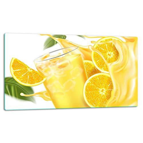 TMK   Glasschneidebrett, Herdabdeckplatte ceranfeld 1-telig, Glasschneideplatte, Spritzschutz, Universal Glasplate, 52x30 cm, motiv gelb Getränk