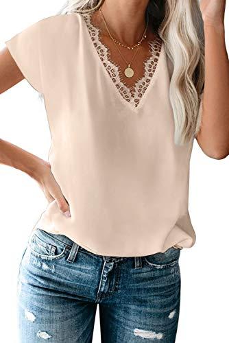 lime flare Women Sexy Summer Lace Trim Satin T Shirts Tops Dressy Silk V Neck Tank Tee Shirt (XX-Large, Apricot Eyelash Lace Short Sleeve)