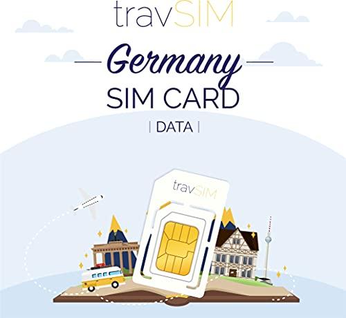 travSIM - Tarjeta SIM Prepaga Alemana(SIM de Datos para-Alemania) - 1GB de Datos Móviles para Usar en Alemania Válido por 30 Días - la Tarjeta SIM de Datos de Funciona en 3 Países