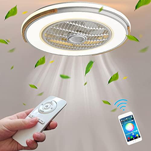 Blanco Fan Lights Ventilador Con Mando A Distancia Ventiladores De Techo Con Luz Silenciosos Lámpara Iluminación LED Dimable Moderno Invisible Ventilador Plafon Luces Dormitorio Sala Infantil