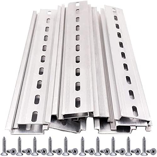 Enfwei guida DIN a 10 pezzi,Metallo guida DIN alluminio,Scanalatura ad U guide di montaggio DIN per l'installazione dell'armadio di distribuzione nell'armadio di controllo (35 *mm*200 mm,*7,5 mm)