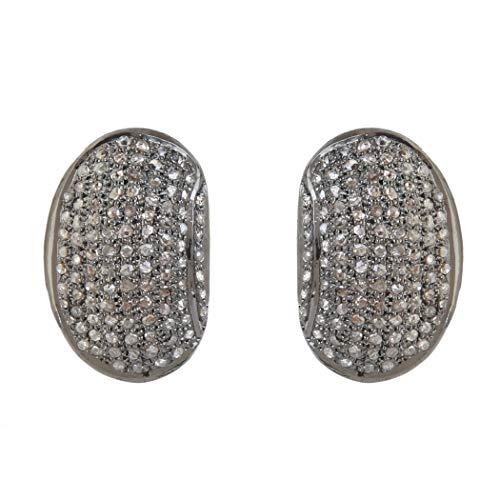 Designer Beans Shape Stud Oorbellen 2.09 Karaat Bruin Natuurlijke Diamanten (I2-I3 Clarity) Oorbellen in 925 Sterling Zilver Sieraden cadeau Voor Vrouwen