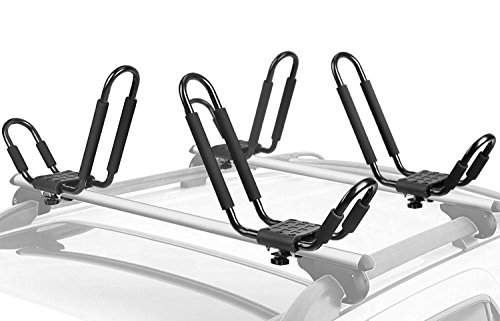 Leader Accessories Kayak Rack 2 Pair J Bar for Canoe Surf Board SUP On Roof Top Mount Crossbar with 4 pcs Tie Down Straps