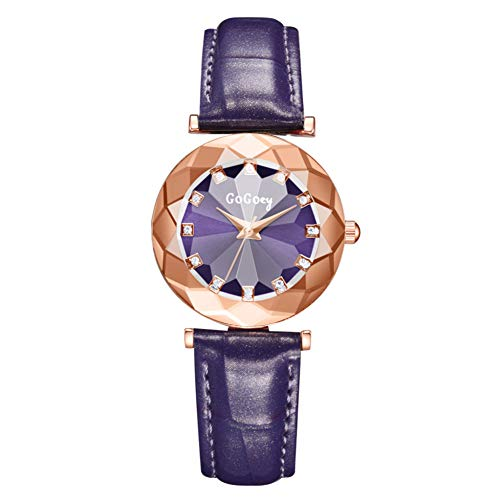YLBHD Relojes de Mujer S Cinturón de Cuero de Vidrio Convexo de rombo Relojes de Negocios Reloj de Diamantes de Moda para Mujer