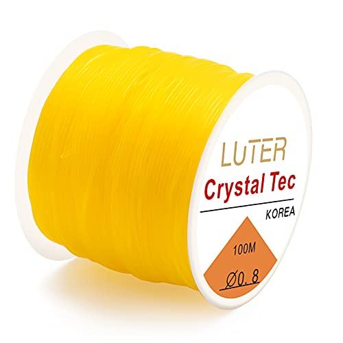LUTER 0.8mm Hilo Elástico Cuerda Elástica para Pulseras Collar Abalorios Joyería (50m) (Amarillo)