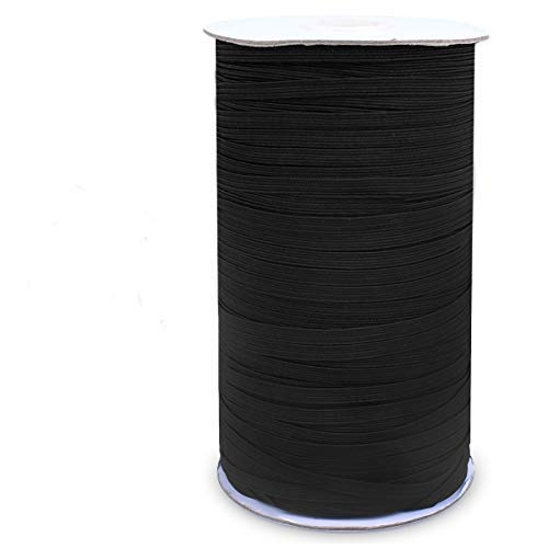 Elastic Bands 5MM Elastic Sewing Band 197 Yards Width Flat Stretchy Braided Elastic Cords for DIY Sewing Band Jewelry Making Sewing and Crafting(Black)