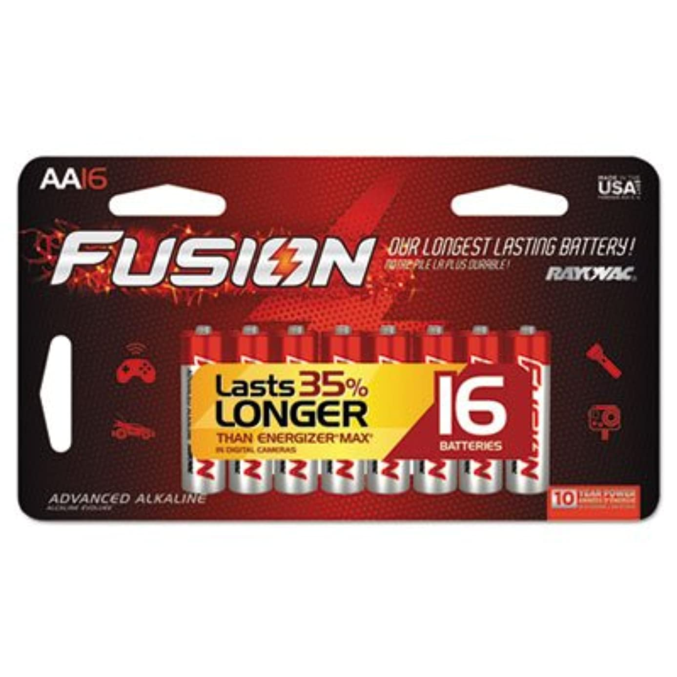 Rayovac 81516SCTFUS Fusion Advanced Alkaline Batteries AA 16/Pack