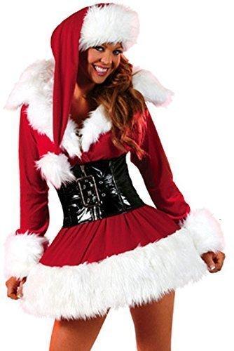 FEMMES 3 pièces sexy avec ceinture mme. Mlle Noël Velours Santa costume déguisement UK 8-12