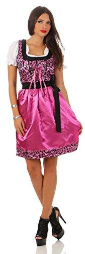 Fashion4Young Damen Dirndl Trachtenkleid 3 TLG. Minibluse Kleid Schürze Oktoberfest (XL=42, 4279-rosa-schwarz)