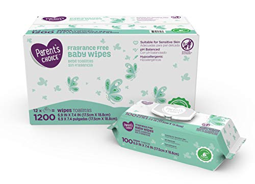 Parent's Choice Unscented Baby Wipes, 12 Packs of 100 (1200 Count)