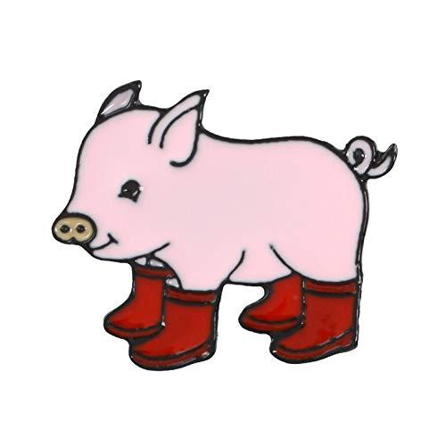 JTXZD Brosche Super schönes Baby Schwein! DREI Farbe Cartoon Tier Rosa Grunzen Schwein In Regen Stiefel Galoschen Hartemaille Broschen Pins Für