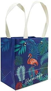 6 قطع حقيبة هدايا صغيرة من الورق المقوى ، نمط فلامنجو استوائي طبيعي باللون الأزرق الداكن، مقاس كل منها 14 × 15 سم.
