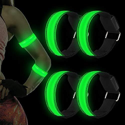 Vivibel 4 Stück LED Armband, Reflective Leucht Armbänder Lichtband Nacht Sicherheits Licht Armband Kinder Nacht Sicherheits Licht Für Laufen Joggen Radfahren Hundewandern Running Outdoor Sports