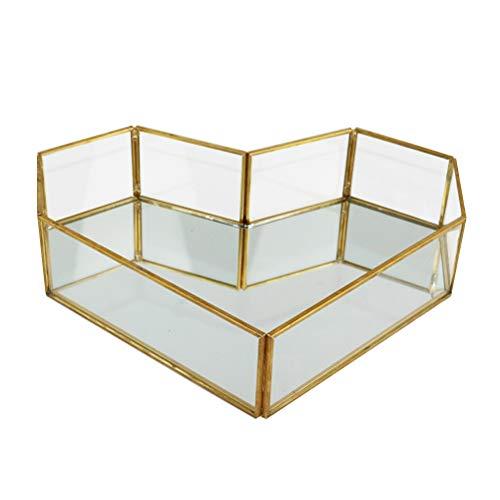 Yardwe Vintage Glasschale Bad Dish Display für Decoraive Vanity Parfüm Schmuck Schmuckstück Arbeitsplatte Halter Kommode Cosmetic Organizer (Herz)