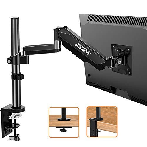 Single Monitor Mount Stand, Gas Spring Arm Height Adjustable Monitor Desk Mount, VESA Bracket for 17 to 32 Inch Computer Screen- Holds up to 17.6lbs with Clamp, Grommet Mounting Base, VESA 75 100