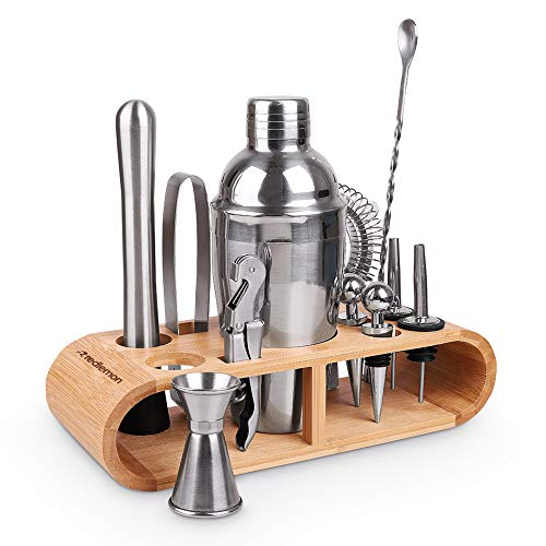 Redlemon Kit Bartender Shaker Cocktail para Cantina: Coctelera, Sacacorchos, Destapador, Colador, Jigger y más. Set de Coctelería para Bebidas Alcohólicas y Mixología, con Base de Bambú (12 Piezas)