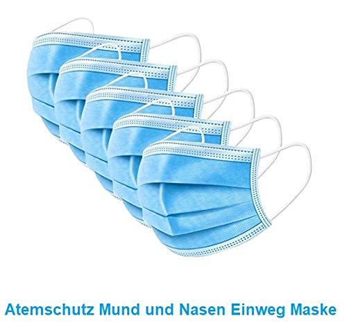 100x Mundbedeckung Staub Hygiene Atem Mund Spuck Schutz Einweg 3Lagig Sofort