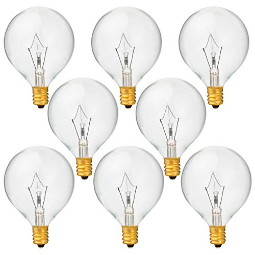 8 Pack 40 Watt G50 Light Bulbs for Full-Size Scentsy Warmers,G16.5 Globe E12 Incandescent Candelabra Base Clear Light Bulbs for Candle Wax Warmer