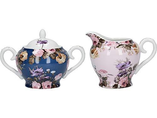 Katie Alice Wild Apricity - Azucarero y jarra para cremera, porcelana, color azul marino y rosa