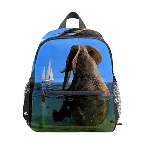 Mochila infantil para niños de 1 a 6 años de edad, mochila perfecta para niños y niñas con elefante gordo sentado en el agua mirando barco