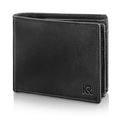 KRONIFY Portemonnaie Herren Leder – TÜV geprüfter RFID Schutz I Geldbeutel Herren aus hochwertigem Rindsleder I Geldbörse Herren Leder Schwarz mit Geschenkbox