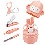 Bamoer Baby Nail Kit, 4-in-1 Baby Nail Care Set Including Baby Nail Clipper, Scissor, Nail File & Tweezers, Baby Manicure Kit and Pedicure Kit for Newborn, Infant & Toddler with Cute Case (Pink)
