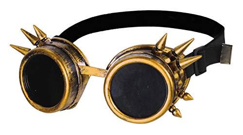 narrenkiste T1878-1400 Gold-bruniert mit Stacheln Fliegerbrille Steampunkbrille