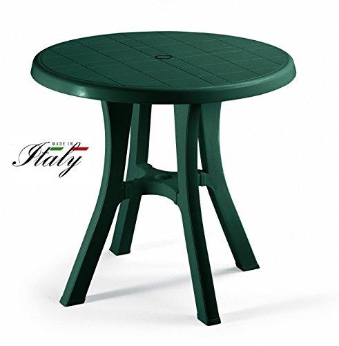 ALTIGASI Table Vert pour extérieur modèle Pol Ø 70 cm en résine Mesure 80 x 80 cm – avec 4 Pieds réglables – Fabriqué en Italie