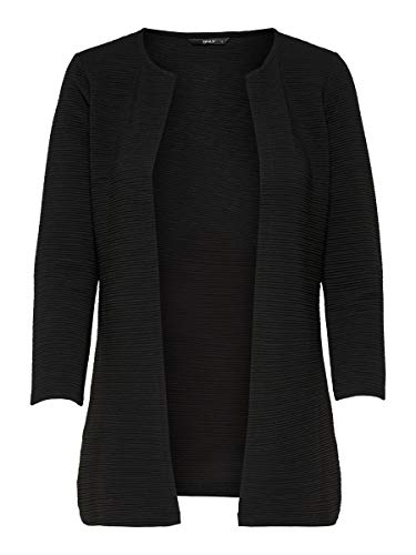 ONLY Damen Onlleco 7/8 Long Cardigan Jrs Noos Strickjacke, Schwarz (Black), XXL EU