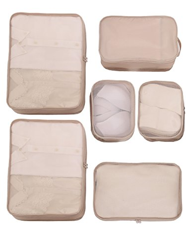 JJ POWER Lightweight Travel Packing Cubes –Multi function, Durable 6 Piece (Cream)