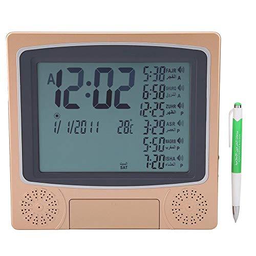 Hztyyier Islamische Gebetstischuhr Digitaler Muslimischer Azan Gebetsuhr Wecker LCD AZAN Uhr mit programmierbarem Wecker Kalender Innentemperatur