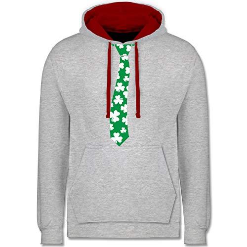St. Patricks Day - St. Patrick's Day Krawatte - S - Grau meliert/Rot - Statement - JH003 - Hoodie zweifarbig und Kapuzenpullover für Herren und Damen