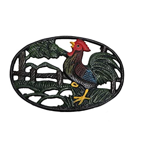 Yardwe Cast Iron Trivets Rooster Design Symbol of Prosperity Good Luck Kitchen Hot Dishes Pads Hot Pot Holder