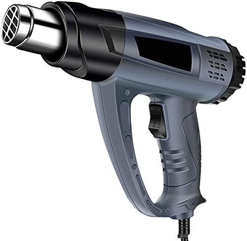 JeeKoudy Pistola de Aire Caliente-Pistola de Calor Pantalla Digital Pistola de Calor 2800W Película termorretráctil Industrial de Alta Potencia Calefacción de Doble Cable (Color: Azul)